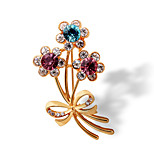 Fashion 18K Color Gold Crystal Brooch
