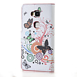 White butterfly Magnetic PU Leather wallet Flip Stand Case cover for Huawei Honor 5X