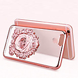 3D Rose Fashion plating Transparent Luxury TPU Soft Case for iPhone 6 Plus/6s Plus(Assorted Colors)