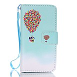 PU Wallet Leather Stand Case with Lanyard and Card Slots for iPhone SE / 5 / 5S - House and Balloon Pattern