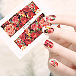 1sheets New Beauty Nail Art Stickers Red Flower Rose Decals Water Transfer Full Cover