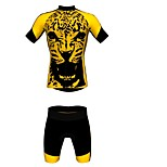 MYKING Men's Cycling Bike Short Sleeve Clothing Set Bicycle Wear Suit Jersey and Shorts yellow leopard Li