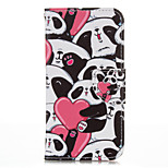 Heart Panda PU leather with Stand Case for iPhone5S/SE 4.0