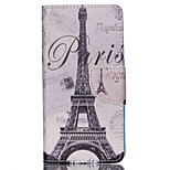 Cross Textured Leather Magnetic Stand Phone Case with Card Slot for Acer Liquid Z520 - Paris Eiffel Tower