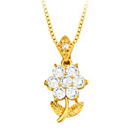 Flowers Zirconia Pendant Necklace High Quality 18K Gold Plated Austrian Crystal Fashion Jewelry Women Brand Gift P30107