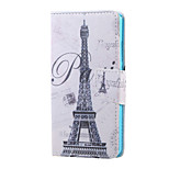 Cross Pattern Leather Wallet Cover Stand Case for Huawei Honor 5X - Paris Eiffel Tower