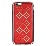 Rivet Leather Series Diamond Pattern Red Plating Golden Round-Dots Soft TPU Case for iPhone6/6S