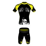 MYKING Men's Cycling Bike Short Sleeve Clothing Set Bicycle Wear Suit Jersey and Shorts Bone Hand