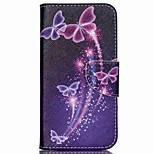 Cross Pattern Wallet Leather Phone Case for Wiko Rainbow Up - Colorized Butterflies