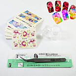 30Sheets + 1Pcs Tweezers Curved +10g Jar Flower Nail Art Water Sticker Watermark Decals Wraps Patch Tools Random Color