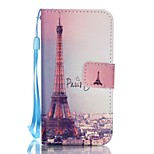 PU Wallet Leather Stand Case with Lanyard and Card Slots for iPhone SE / 5 / 5S - Eiffel Tower Pattern