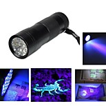 3AAA Aluminium Invisible Blacklight Ink Marker 12LED UV Ultra Violet Flashlight Torch Light Lamp(Ramdon Color)