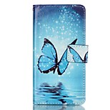 Blue Butterfly Pattern Magnetic Flip Wallet PU Leather Phone Case for Huawei P9