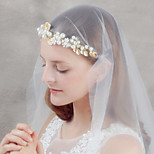 Women's Gold Flower Crystal Pearl Rhinestone Headband Forehead Hair Jewelry for Wedding Party