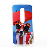 Glasses Dog Pattern TPU Soft Case for Motorola Moto G3