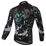 XINTOWN Cool Green Skull Cycling Jersey Men's  Cycling Clothing MTB Long Sleeve Bike Jersey