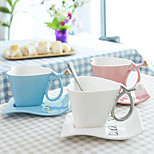 180ML Creative Heart And Disc Mugs Of Coffee Mug Cup Milk Cup Valentine'S Gift Cup With Base 1PC