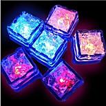 12pcs blå / rød / grøn / pink / gul / RGB / naturlig hvid skiftende førte flydende sensor lys isterninger form
