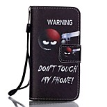 PU Wallet Leather Stand Case with Lanyard and Card Slots for iPhone SE / 5 / 5S -  Don't Touch My Phone