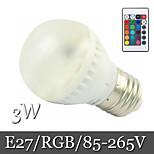 1pcs Ding Yao E27 3W 6LED SMD 5050 400lm RGB Recessed Retrofit Remote-Controlled / Decorative LED Globe Bulbs AC 85-265V