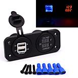 12-24V Universal Motorcycle Automobile Dual USB Charger LED Voltmeter Amperemeter
