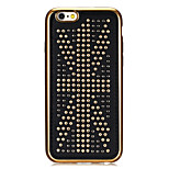 Rivet Leather Series USA flag Pattern Gold Plating Golden Round-Dots Soft TPU Case for iPhone6/6S