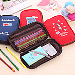 Canvas Large Capacity Pen Bag Creative Lovely Double Open Stationery Bags