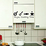 Removable Kitchen Oilproof Wall Stickers with Enjoy Cooking Time English Words Style Water Resistant Home Art Decals