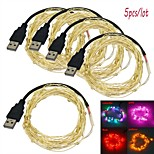 Jiawen 5pcs/lot USB 5M Waterproof Flexible 3W 50-0603 SMD  LED String Light - Silver (DC 5V)