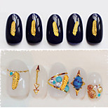 50pcs New Gold Feather Nail Art Decoration DIY Beauty Jewelry 3d Design Alloy Nail Accessories