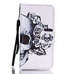 PU Wallet Leather Stand Case with Lanyard and Card Slots for iPhone SE / 5 / 5S - Cool Skull Pattern