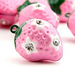 Pink Strawberry Cartoon Pure Copper Pet Pendant Bell(2 PCS 2cm)