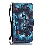 PU Wallet Leather Stand Case with Lanyard and Card Slots for iPhone SE / 5 / 5S -  Blue Cat Pattern