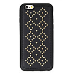 Rivet Leather Series Diamond Pattern Golden Round-Dots Soft TPU Case for iPhone6/6S