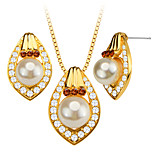 Luxury Pearl Trendy Crystal Necklace/Earrings 18K Gold Plated Women Bridal Jewelry Set Gift S20169