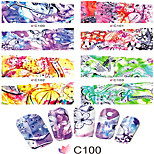 1pcs  Nail Art Water Transfer Stickers Abstractive Bird Fish And Flower Picture Fashion Girl Image C100-107