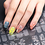 3D Nail Art Full Nail Sticker Silver Color ,60 Decals/Sheet,5 Different Styles in 1 Sheet,For 5 Pairs of Hands-YILIN-84S
