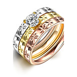 2016 3pcs Galaxy Luxury Noble Zricon Titanium Steel Wedding Ring Set