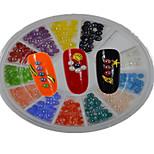 1pcs New White Round Bowl Ceramic Semicircle Shape Colorful Nail Art Flat Jewelry Nail Art Decoration TC1