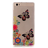 Transparent Colored Butterfly Pattern TPU Soft Case Phone Case For Huawei P8 Lite