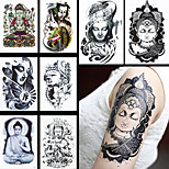 8PCS Fashion Temporary Women Men Buddha Joss Body Art Drawing Tattoo Waterproof Flower Sleeve Back Tattoo Sticker