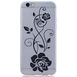 flores negras caja del teléfono de TPU para el iphone luminosa translúcida 6 / 6s