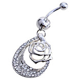 Charms jewelry Sterling Silver Rose flowers / Zircon / Gem Navel & Bell Button Rings Party / Daily / Casual 1pc