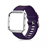 Classic Silicone Replacement Band with Metal Frame Case for Fitbit Blaze Large(6.7-8.1 in)