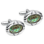 2pcs Stainless Steel Oval Shell Men's Shirts Cufflinks Groom Wedding Business, Silver