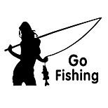 ZIQIAO Car Tail Window Stickers Auto Car Styling Fashion Girl Go Fishing Sticker Decal Waterproof Car Stickers