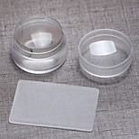 1pc 3.8cm Import Transparent The Silicone Big The Seal With Cover+ Big Scraper Super Brief Paragraph