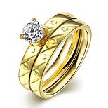 2016 Luxury Twill Screw Gold Zircon Titanium Steel Romantic Wedding Couple Ring