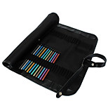Canvas Roll Up Pencil Case Storage Bag Black Pen Pencil Curtain Bag Make Up Bag 48 Holes