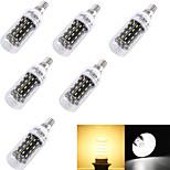 4W E14 / E26/E27 Bombillas LED de Mazorca T 56 SMD 4014 280 lm Blanco Cálido / Blanco Fresco Decorativa AC 100-240 / AC 110-130 V 6 piezas